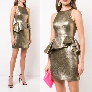 Gold Cocktail Dress with Ruffle Peplum by Halston